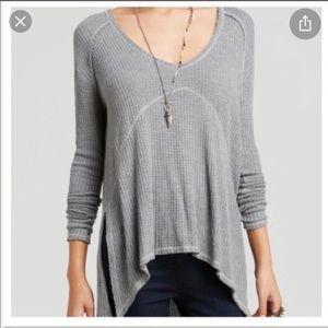 Free People Grey Thermal Long Sleeve Sz XS